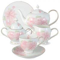 Чайный сервиз Anna Lafarg Розовые цветы 21 предмет на 6 персон