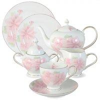 Чайный сервиз Anna Lafarg Розовые цветы 40 предметов на 12 персон