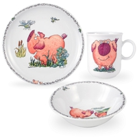 Сервиз детский 3 предмета, Piggeldy (кружка, тарелка 20 см, салатник 16 см), серия Kinderseries, SELTMANN WEIDEN, Германия