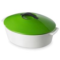 Кастрюля с крышкой овальная 4,2 л, цвет крышки зеленый, серия Revolution, REVOL, Франция