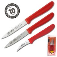 Набор ножей для чистки и нарезки овощей, рукоять красная, серия Genova, ARCOS, Испания