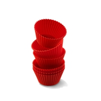 Набор силиконовых форм для маффинов, 6 шт., dia 7 см, круглые, цвет-красный, серия Wonder Cakes, SILIKOMART, Италия