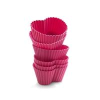 Набор силиконовых форм для маффинов, 6 шт., разм. 7х6,5 см, форма-сердце, цвет-розовый, серия Wonder Cakes, SILIKOMART, Италия