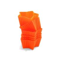 Набор силиконовых форм для маффинов, 6 шт., разм. 7х6,6 см, форма-звезда, цвет-оранжевый, серия Wonder Cakes, SILIKOMART, Италия