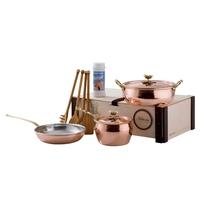 Набор медной посуды 5 предметов: сотейник, ковш, сковорода, 4 деревянные лопатки, чист. ср-во, серия Historia decor, RUFFONI, Италия