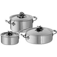 Набор посуды из нержавеющей стали, 3 предмета: кастрюля 3,5 л, ковш 1,6 л, сотейник 5 л, серия Opus Prima, RUFFONI, Италия