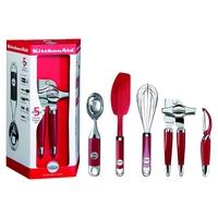 Набор кухонных аксессуаров, 5 предметов, материал: нержавеющая сталь, пластик, цвет: красный, KITCHENAID, США