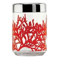 Контейнер для сыпучих продуктов MEDITERRANEO, 1 л,  материал стекло, сталь 18.10, диаметр 10,5 см, высота 15,8 см, цвет красный, ALESSI, Италия