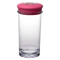 Банка для хранения,  вакуумная,  1 л, материал: пластик, силикон, размер: 17,5 х 9,5 см, цвет: розовый, QUALY, Таиланд