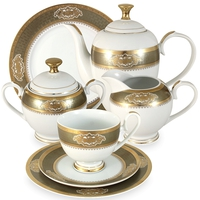 "Сервиз чайный ""Киото"", 42 предмета, на 12 персон, материал: фарфор, MIDORI, Китай"
