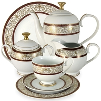"Сервиз чайный ""Мадлен"", 42 предмета, на 12 персон, материал: фарфор, MIDORI, Китай"