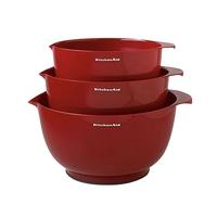 Набор из 3 чаш для смешивания, материал: пластик, объем: 2,3 л, 3,3 л, 4,2 л, цвет: красный, KITCHENAID, США